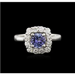 14KT White Gold 1.09 ctw Tanzanite and Diamond Ring