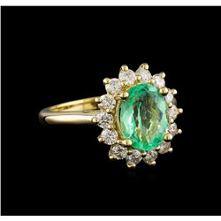 2.31 ctw Emerald and Diamond Ring - 14KT Yellow Gold