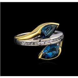 Crayola 2.60 ctw Blue Topaz and White Sapphire Ring - .925 Silver