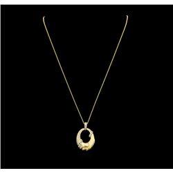 0.74 ctw Diamond Pendant & Chain - 14KT Yellow Gold