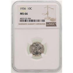 1936 Mercury Dime Coin NGC MS66
