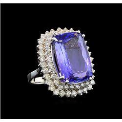 GIA Cert 21.48 ctw Tanzanite and Diamond Ring - 14KT White Gold