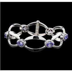 4.60 ctw Tanzanite and Diamond Bracelet - 14KT White Gold