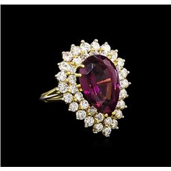 9.50 ctw Garnet and Diamond Ring - 18KT Two-Tone Gold