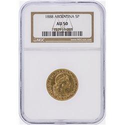 1888 NGC AU50 Argentina 5 Pesos Gold Coin