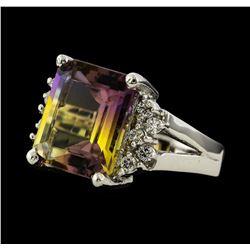 6.25 ctw Ametrine and Diamond Ring - 14KT White Gold