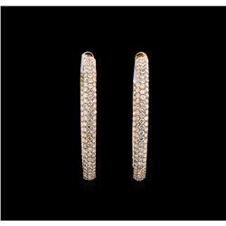 5.77 ctw Diamond Hoop Earrings - 18KT Rose Gold