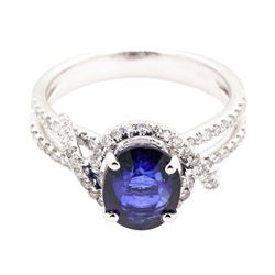 2.96 ctw Sapphire and Diamond Ring - 18KT White Gold