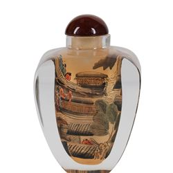"Large, Vintage Chinese Reverse Painted Snuff Bottle ""Chinese Village Scenes"""