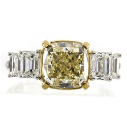 4.05 ctw Fancy Yellow Diamond Ring - 18KT Two-Tone Gold