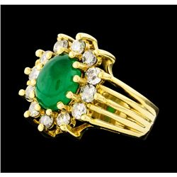 2.50 ctw Emerald and Diamond Ring - 14KT Yellow Gold