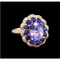 14KT Rose Gold 2.90 ctw Tanzanite, Sapphire and Diamond Ring