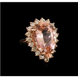 13.54 ctw Morganite and Diamond Ring - 14KT Rose Gold