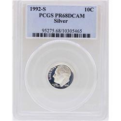 1992-S Roosevelt Silver Dime Coin PCGS PR68DCAM