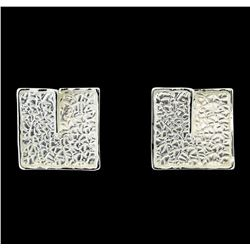 Square Matte Earrings - Rhodium Plated