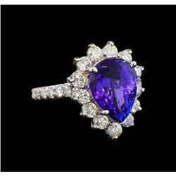 14KT White Gold 4.48 ctw Tanzanite and Diamond Ring