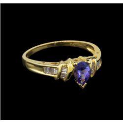 14KT Yellow Gold 0.62 ctw Tanzanite and Diamond Ring