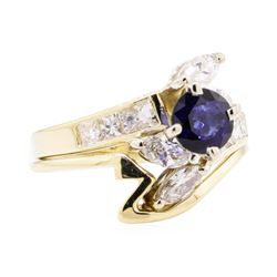 0.90 ctw Sapphire and Diamond Ring - 14KT Yellow Gold
