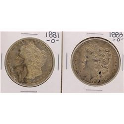 Lot of 1881-O & 1883-O $1 Morgan Silver Dollar Coins