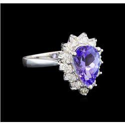 14KT White Gold 2.19 ctw Tanzanite and Diamond Ring