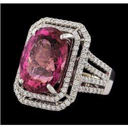 16.15 ctw Pink Tourmaline and Diamond Ring - 14KT White Gold