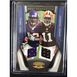 2009 PANINI #7 PERCY HARVIN & MOHAMED MASSAQUOI GAME WORN JERSEYS (023/250)