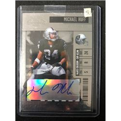 2006 Playoff Contenders #195 Michael Huff Oakland Raiders Auto RC Football Card