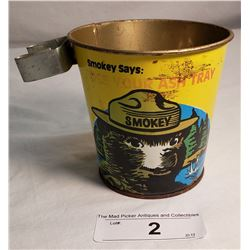 Smokey The Bear Tin Pail Ashtray
