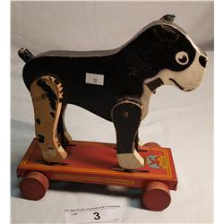 Tin And Wooden Pug Dog Pull Toy