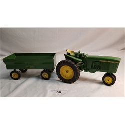 Diecast John Deere Tractor And Tin J.D. Wagon