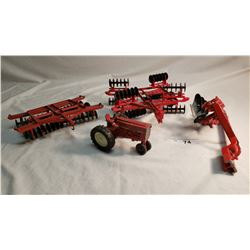 3 Diecast Farm Implements And Small Tractor