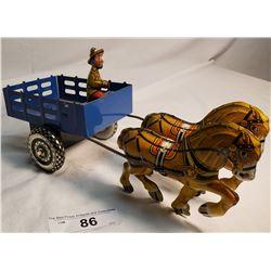 Marx Tin Cart Drawn By 2 Horses