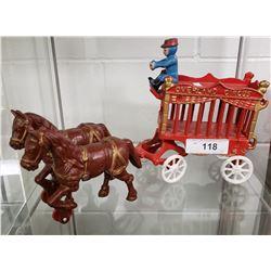 Repo Cast Iron Horse Drawn Circus Wagon