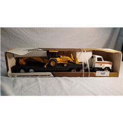 ERTL Transport Flat Bed Tractor Trailer With Back Hoe