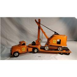 Tonka Hi-way Dept Low Bed Truck And Trailer With Excavator