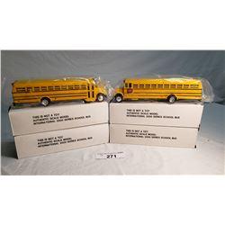 4 Diecast School Buses