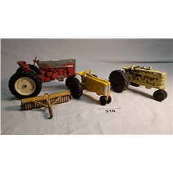 3 Cast Metal Tractors, 1 with Discus