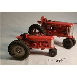 Hubley Cast Tractor And Smaller Cast Tractor