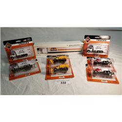 "7 Boley Diecast Toy's (5"" Each"", 1 Diecast Tractor Trailer (12"")"