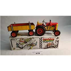 Kovap Tin Wynd Up Farm Tractor And Trailer