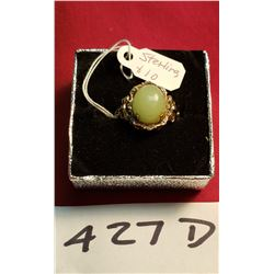 Sterling Ring With Green Stone 3GR