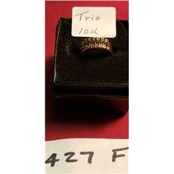 3- 10K Rings Emeral, Ruby, Saphire 3g