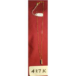 10K Gold Chain With 3 Diamond Pendant 2g