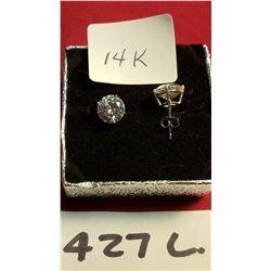 Pair Of 14K Gold Peirced Earings Cubic Zirconium