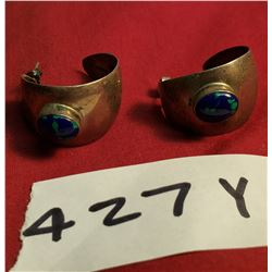 Pair of Sterling Pierced Earings With Blue Stones