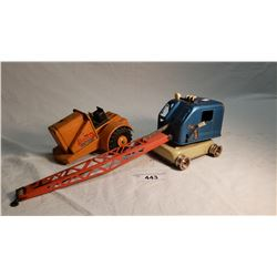 """Lumar Tractor Only Missing Parts 7"""" And Tin Crane Missing Parts 16"""""""