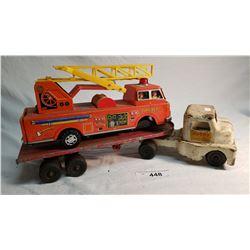 """Husky Lumber Truck Diecast 18"""" Fair, And Tin Battery Of Fire Truck Fair 12"""" Missing Battery Door"""