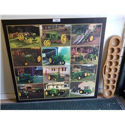 "Board Depicting 12 J.D. Tractors ( 37""x36"") And Ball Rack"