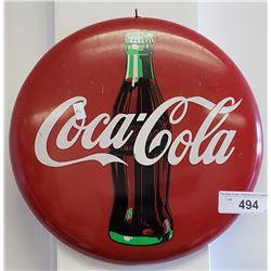 """Tin 12"""" Coke Button Sign"""