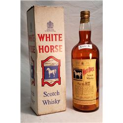 Vintage White Horse Whiskey Display Bottle And Box